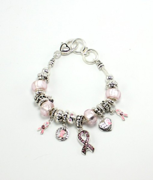 Breast Cancer Awareness Pink Ribbon Beaded Charm Bracelet