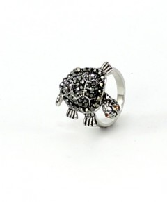 Turtle Ring With Rhinestones Hematite