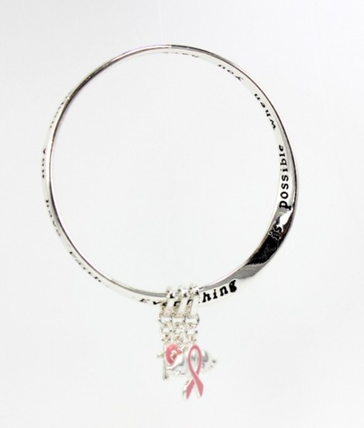 Pink Ribbon Silver Charm Bracelet