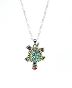 Turtle Necklace Pendant Green Aurora Borealis