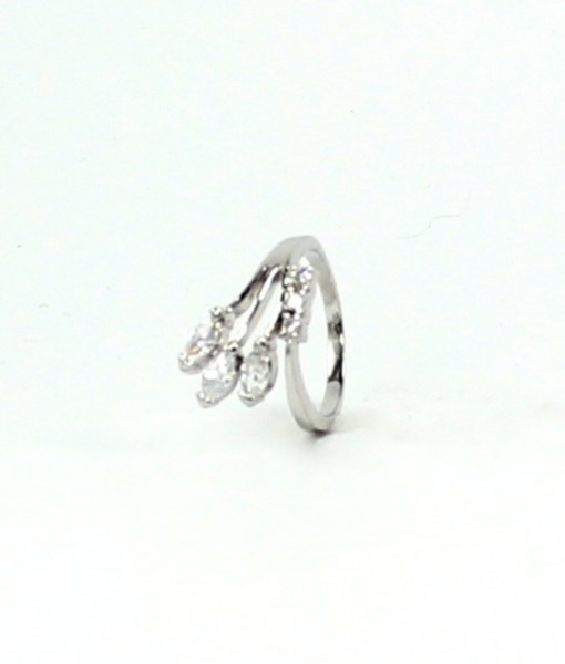 Dainty Leaf Ring Silver Tone Cz's R6966