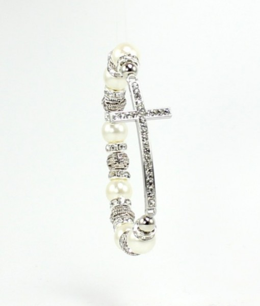 Sideways Pearl Cross Bracelet Silver Crystal Charms