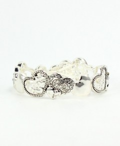Heart Bracelet Silver Tone With Crystals For Smaller Wrist