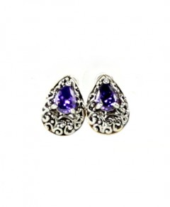 Vintage Earrings Amethyst Antique Design