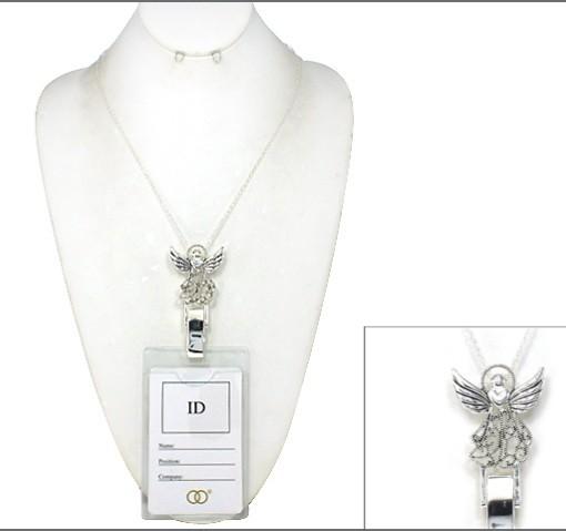 Angel Badge Id Holder Silver Lanyard Lace