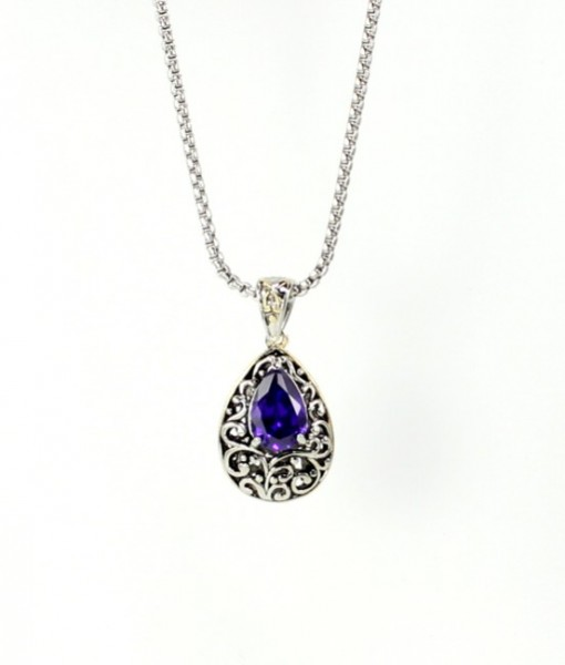Amethyst Necklace Pendant Antique Design