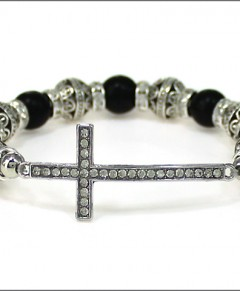 Cross Bracelet Black Silver Tone