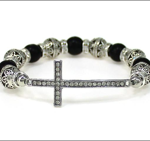 Cross Bracelet Black Silver Tone