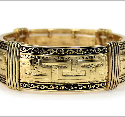 Greek Key Bracelet Gold Cuff Stretch Bracelet