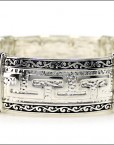 Greek Key Bracelet Silver Antique Cuff Stretch Bracelet