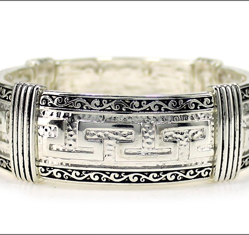 Greek Key Bracelet Silver Antique Cuff Stretch