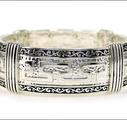 Greek Key Bracelet Silver Antique Cuff Stretch Bracelet