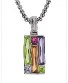 Art Deco Multi Stone Fab Necklace
