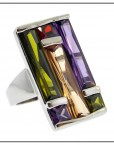 Multi Stone Art Deco Ring