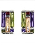 Multi Stone Contemporary French Clip Earrings