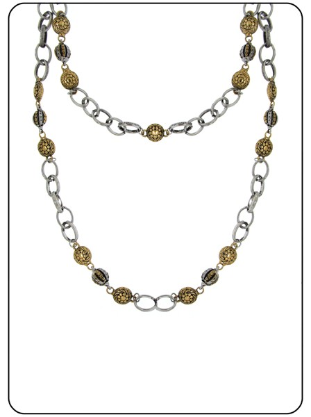 Station Necklace Antique Gold Silver Tone