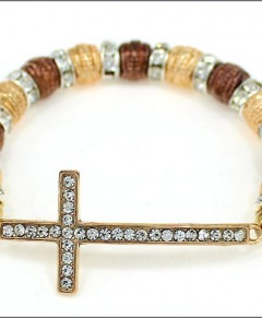 Sideways Cross Bracelet Crystals Gold Silver Bronze