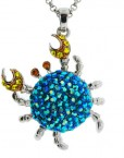 Crab Necklace Blue Aurora Borealis Crystals