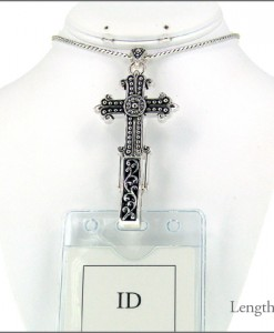 Cross Silver Tone Lanyard Id Holder