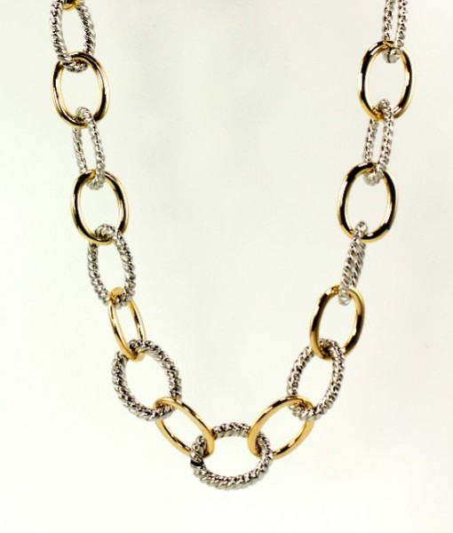 Chain Link Necklace Gold Silver Tone 17 Inch
