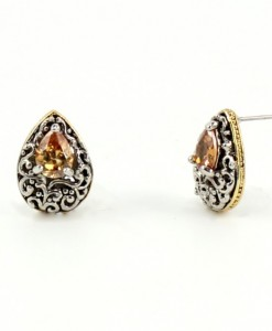 Vintage Earrings Champagne Antique Design