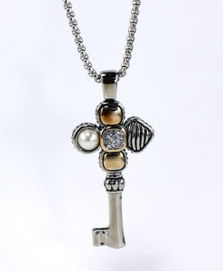 Key Pendant Necklace With Pearl And Pave