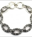 Silver Bracelet With Antique Design Toggle