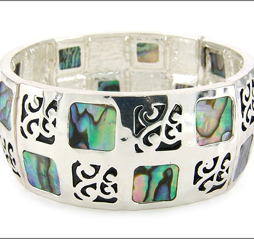 Silver Tone Mother of Pearl Stretch Bracelet
