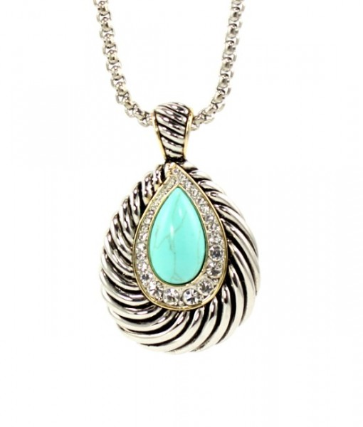 Turquoise Necklace Pendant Tear Drop Design