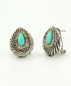 Turquoise Earrings Tear Drop Design