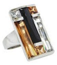 Art Deco Ring Multi Stone Rectangular