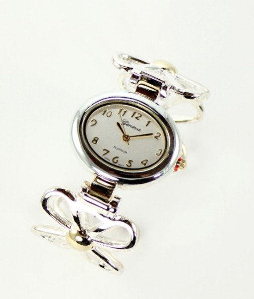 Art Deco Flower Cuff Watch Gold And Silver Tone