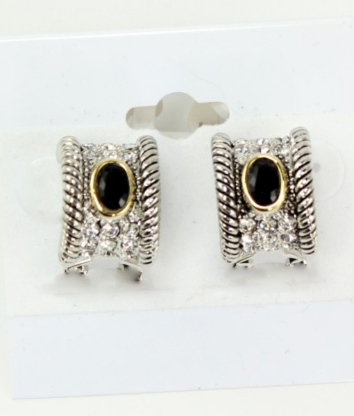 Black French Clip Rhinestone Earrings
