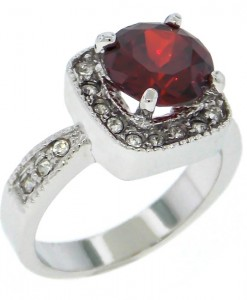 Garnet Ring White Crystals Silver Tone