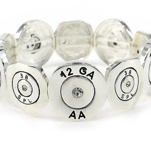 Bullet Bracelet Stretch Silver Tone