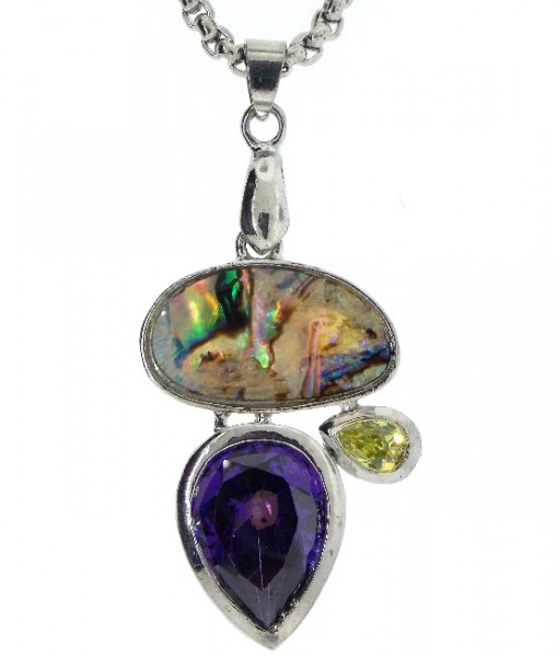 Abalone Necklace Amethyst And Peridot Cubic Zirconia