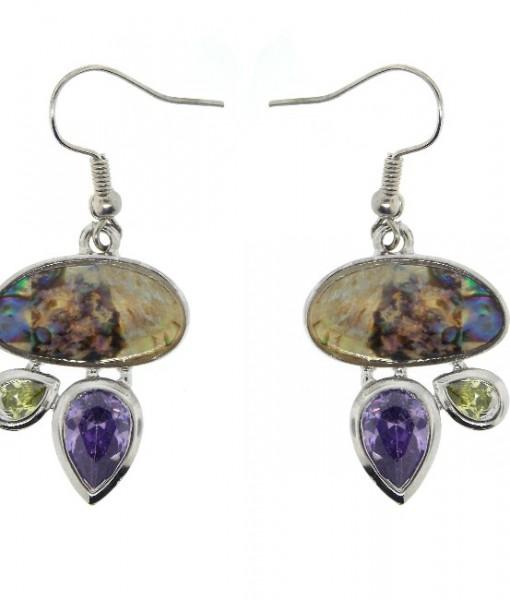Abalone Earrings Contemporary Amethyst Peridot CZ's