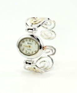Art Deco Cuff Watch Gold And Silver Swirls