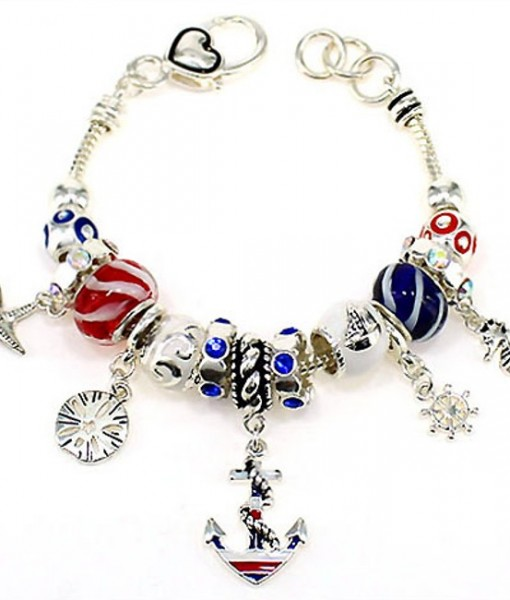 Nautical Jewelry Sea Life Beaded Charm Bracelet