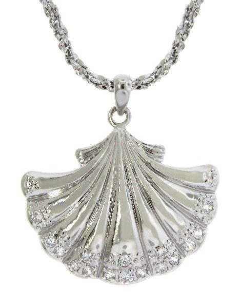 Shell Necklace Nautical Silver Tone Rhinestones