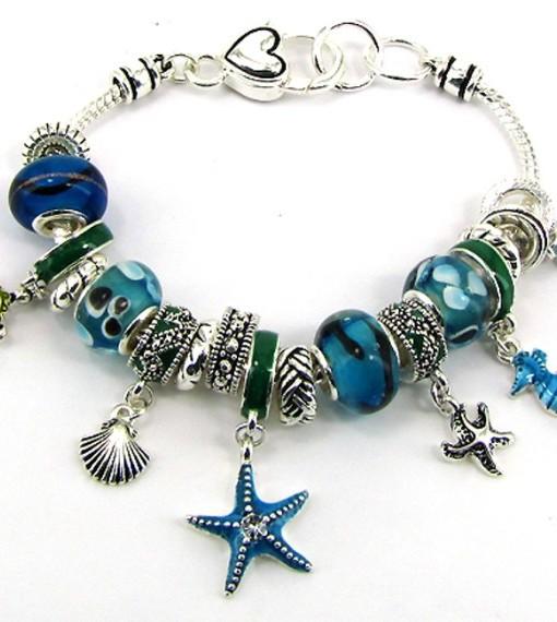 Charm Bracelet Beaded Sea Life Designer Inspired Bracelet