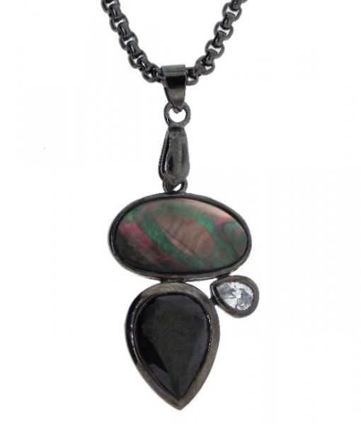 Abalone Necklace Black Onyx Crystal Art Deco Design