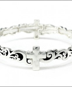 Cross Bracelet Antique Silver Tone Stretch
