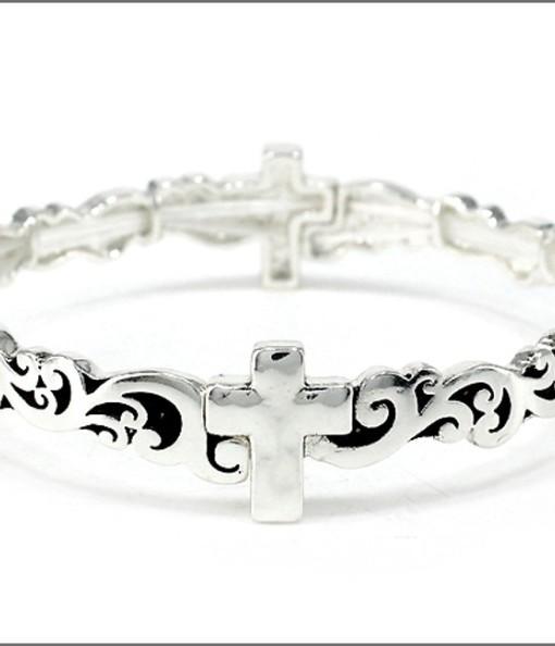 Cross Bracelet Antique Silver Tone Stretch
