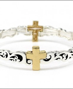 Cross Bracelet Antique Gold And Silver Tone Stretch