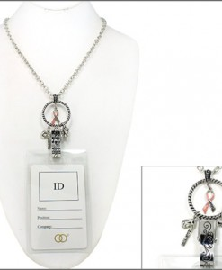 Breast Cancer Jewelry Lanyard Necklace Eyeglass Holder With Charms
