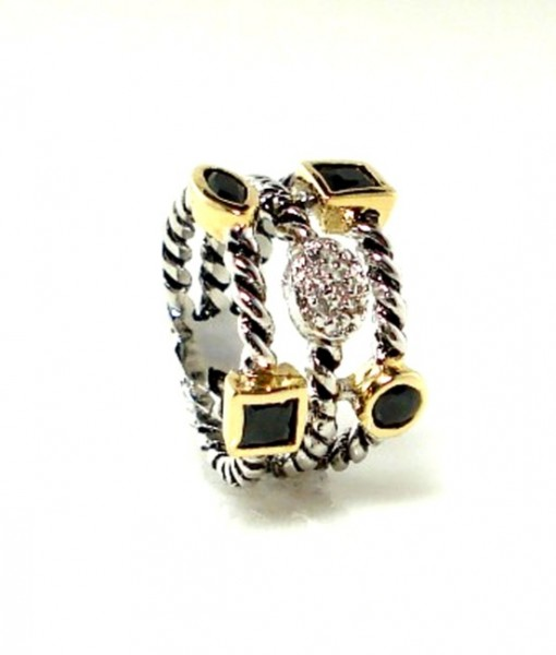 Black And Pave Triple Band Ring