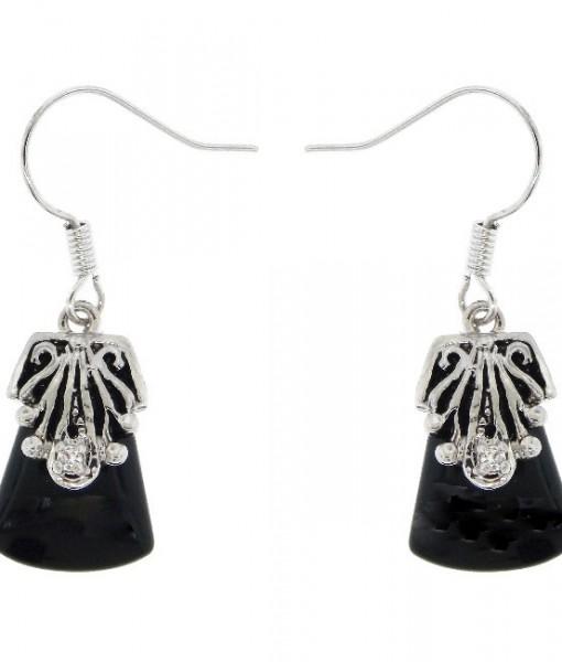 Black Onyx Earrings Antique Silver Tone Dangly
