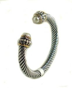 Pearl Cable Cuff Bracelet