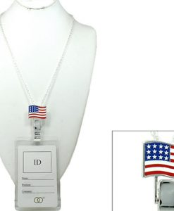 Lanyard Badge Id Holder With American Flag